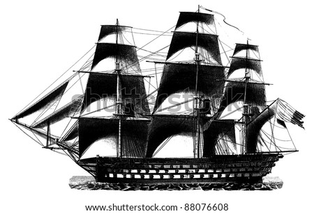 """Engraving vintage Vessel from """"The Complete encyclopedia of illustrations"""" containing the original illustrations of The iconographic encyclopedia of science, literature and art, 1851. Vector. - stock vector"""