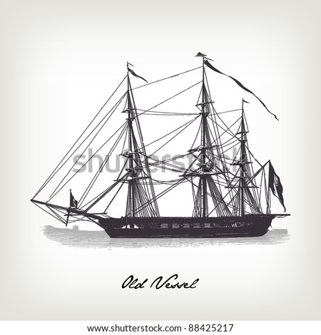 "Engraving vintage Vessel from ""The Complete encyclopedia of illustrations"" containing the original illustrations of The iconographic encyclopedia of science, literature and art, 1851. Vector. - stock vector"
