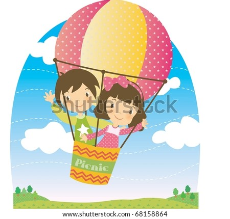 Enjoy Picnic and Happy Days background with blue sky and white cloud - flying smiling and lovely young children with hot air balloon on spring vacation - stock vector