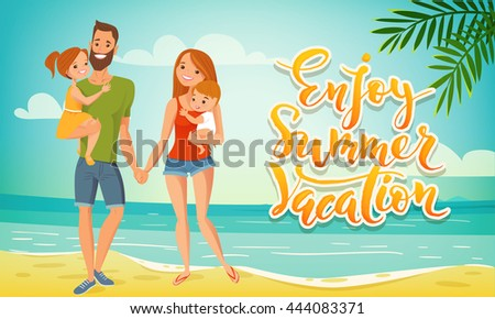 Enjoy Summer Vacation Vector Family Card Banner With Happy Mother Father