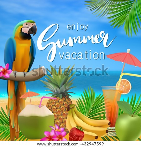 Summer Time Vector Illustration Sea Blue Stock Vector ...