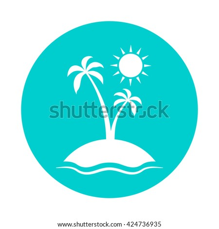 Enjoy the summer. Silhouette of palm tree on blue background. Vector illustration with sun, sea, palm and sky. - stock vector