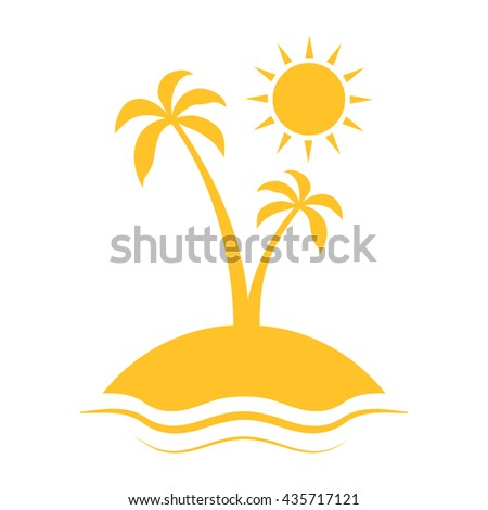 Enjoy the summer. Silhouette of palm tree. Vector illustration with sun, sea, palm and sky.