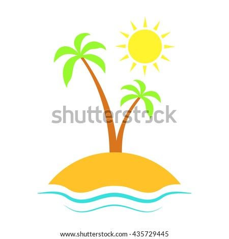 Enjoy the summer.  Vector illustration with sun, sea, palm tree and sky.