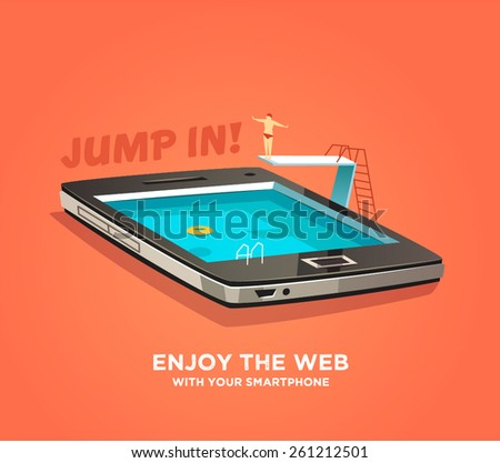 Enjoy the web with your smartphone. Vector illustration. - stock vector