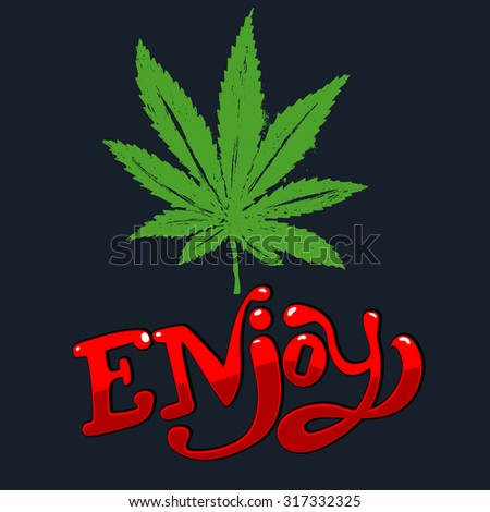 Enjoy vector illustration. Cannabis leaf in hand draw style.