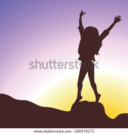 Enjoyment. Silhouette of a young girl raising her hands to the sky and relaxing in the field. - stock vector