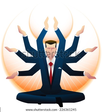 enlightened Zen business man. - stock vector