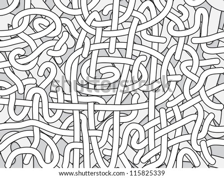 Entangled monochrome vector background - black and white