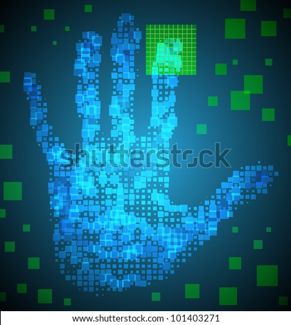 Enter Access Code using the fingerprint. Eps 10. Used effect transparency layers of square elements - stock vector