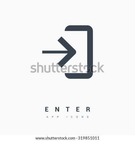 enter isolated minimal single flat linear icon in black and white colors. Line vector icon for websites and mobile minimalistic flat design. Modern trend concept design style illustration symbol - stock vector