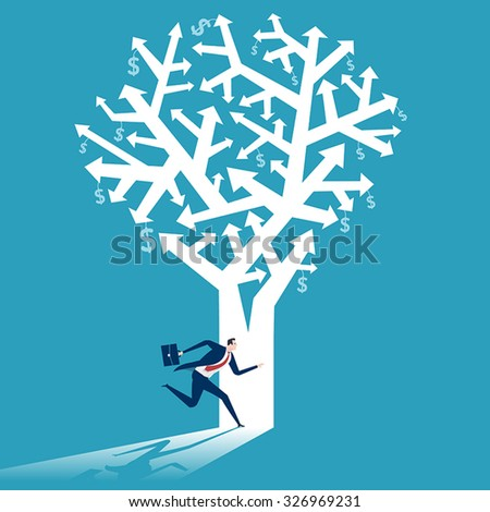Entering business tree. Concept business illustration.  - stock vector
