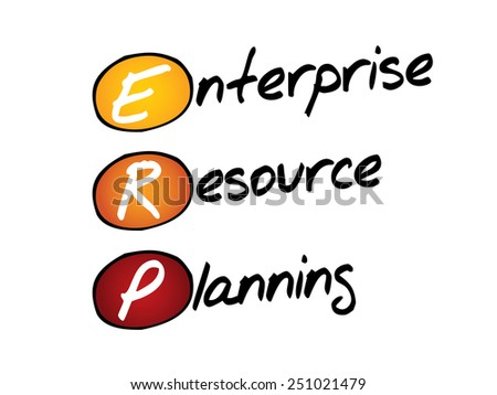 Enterprise resource planning (ERP), business concept acronym - stock vector