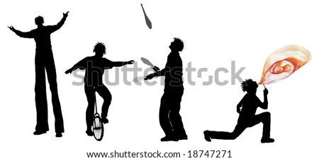 Entertainer Silhouettes (juggler, Unicyclist, fire breather and stilt walker) - stock vector
