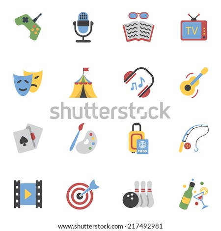 Entertainment and amusement events flat icons set isolated vector illustration - stock vector
