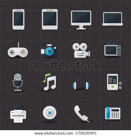 Entertainment and electronic icons - stock vector