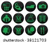 Entertainment and leisure related black icon set - stock vector