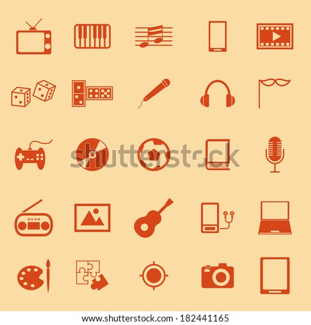 Entertainment color icons on orange background, stock vector