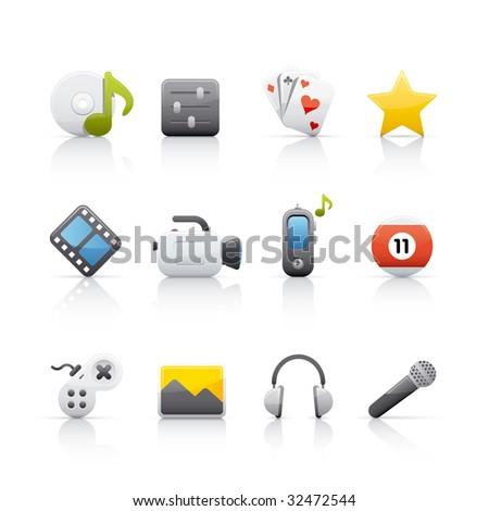 Entertainment Icon Set - stock vector