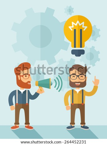 Enthusiastic young hipster Caucasian men with beard who have a good business idea. Man on the left is holding a megaphone and  man on the right has a brilliant plan for their business. Delivering a - stock vector