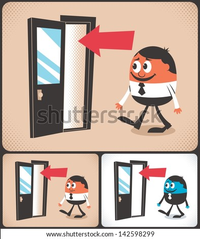 Entrance: Cartoon man entering door. Illustration is in 3 versions. No transparency and gradients used. - stock vector