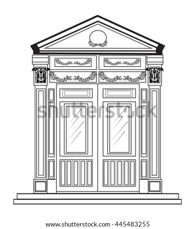 Vector Architectural Facade Wire Frame Blueprint Stock Vector