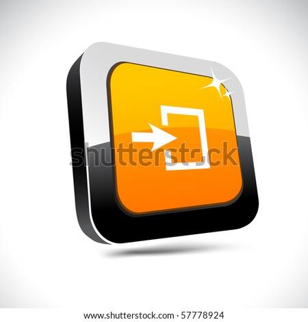 Entrance metallic 3d vibrant square icon. - stock vector