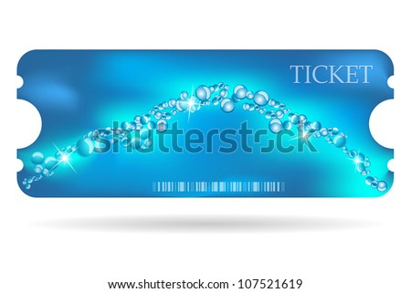 Entrance ticket with special marine design - stock vector