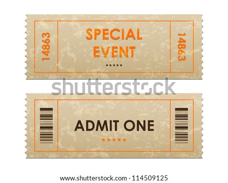 entrance tickets - stock vector