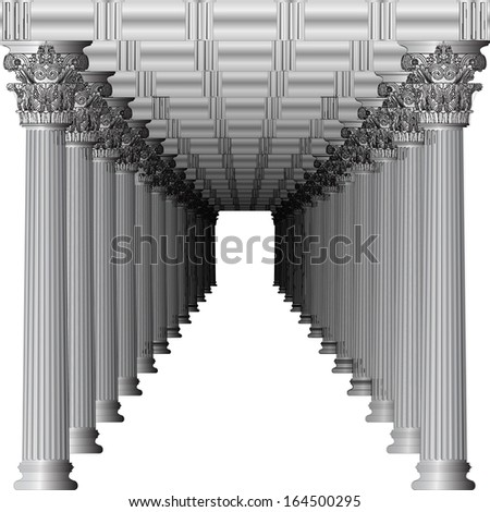Entrance to a Greek temple in perspective - stock vector