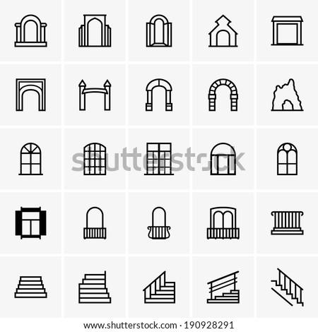 Entrances and windows - stock vector