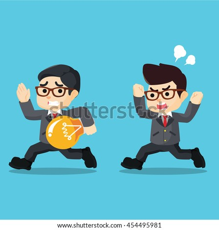 entrepreneur is pursuing the idea of stealing - stock vector