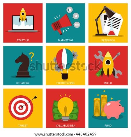 Entrepreneurship nine flat items concept - stock vector