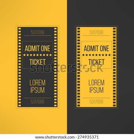 Entry cinema ticket in film footage style. Admit one movie event invitation. Pass icon for online tickets booking. Vector illustration - stock vector
