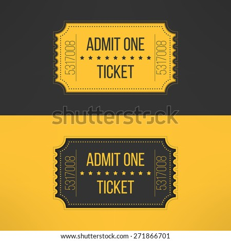Entry ticket in stylish vintage style. Admit one cinema, theater, zoo, festival, carnival, concert, circus event. Pass icon for online tickets booking. Vector illustration. - stock vector