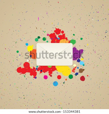 Envelope for letters on the background with blots of paint - stock vector