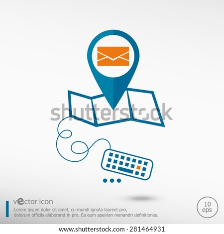 Envelope icon and pin on the map. Line icons for application development, creative process.  - stock vector
