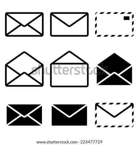Envelope Icon Isolated on white background. Set. Illustration Vector. - stock vector