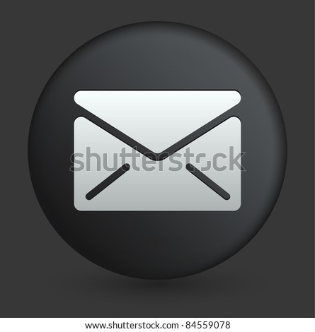 Envelope Icon on Round Black Button Collection Original Illustration - stock vector