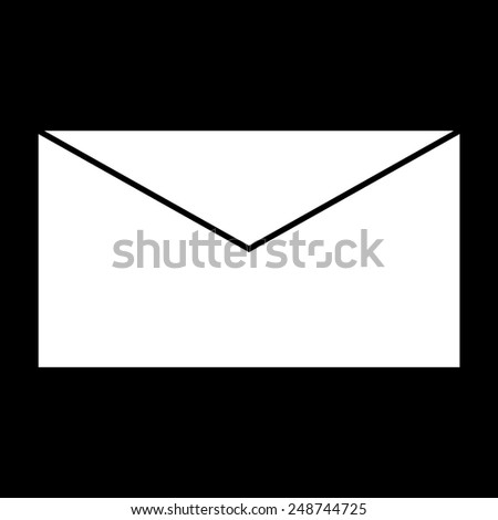 Envelope Icon Symbol on a black background - stock vector