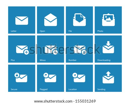 Envelope icons on blue background. Vector illustration. - stock vector