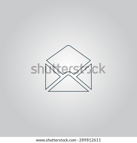 Envelope Mail. Flat web icon, sign or button isolated on grey background. Collection modern trend concept design style vector illustration symbol - stock vector