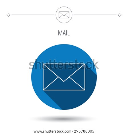 Envelope mail icon. Email message sign. Internet letter symbol. Blue flat circle button. Linear icon with shadow. Vector - stock vector