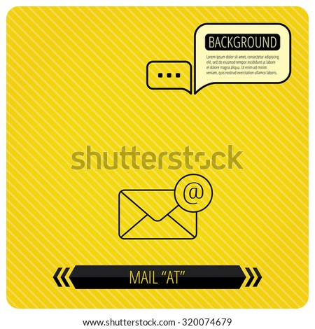 Envelope mail icon. Email message with AT sign. Internet letter symbol. Chat speech bubbles. Orange line background. Vector - stock vector