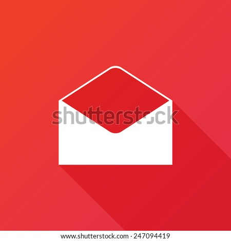 Envelope Mail icon, vector illustration in flat style with long shadow - stock vector
