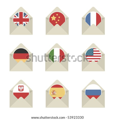 envelope mail icons with flags isolated on white