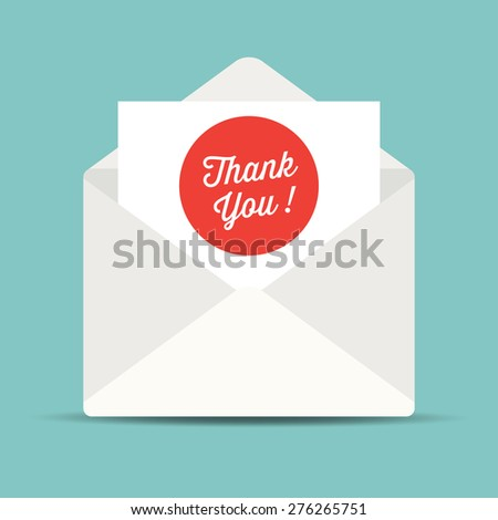 envelope mail, thank you card. - stock vector