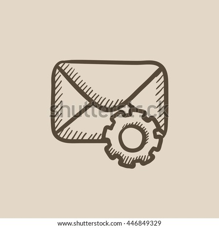 Envelope mail with gear vector sketch icon isolated on background. Hand drawn Envelope mail with gear icon. Envelope mail with gear sketch icon for infographic, website or app. - stock vector