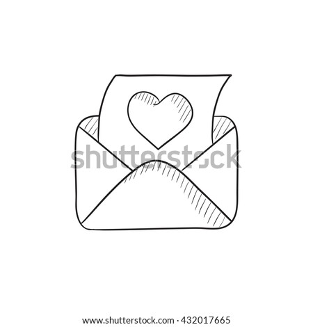 Envelope mail with heart vector sketch icon isolated on background. Hand drawn Envelope mail with heart icon. Envelope mail with heart sketch icon for infographic, website or app. - stock vector