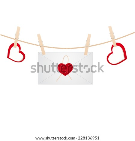 Envelope on the clothespin with hearts. Vector illustration. - stock vector